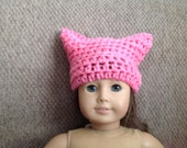 American Girl Doll sized  Hot Pink Pussy Cat hat Women's March Hat, women's rights, girls rule