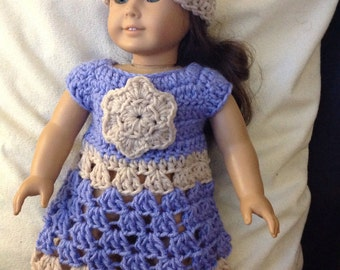 Doll dress and hat set Purple off white  flower accent doll clothes crochet dress