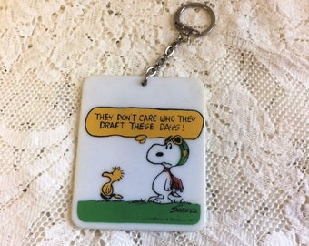 Vintage Snoopy Red Baron Keychain - Snoopy and Woodstock Key Chain - 1970s United Features - Vintage Peanuts - Peanuts Political Draft