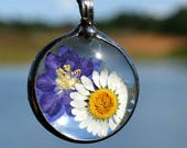 Artisan Jewelry, Real Dry Pressed Flowers, Daisy & Larkspur, Artisan Necklace, Etsy Terrarium Necklace, Real Flower Necklace (2751)