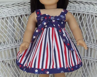 Red, White, and Blue Patriotic Sundress Handmade To Fit 18 Inch Dolls Like American Girl