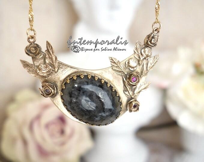Bronze and larvikite pendant, OOAK, SAPE28