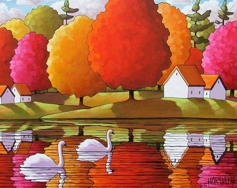Swans Fall Tree Colors, 5x7 Giclee Art Print by Cathy Horvath, Folk Art Scenic Autumn River Water Reflections, Acid Free Landscape Artwork