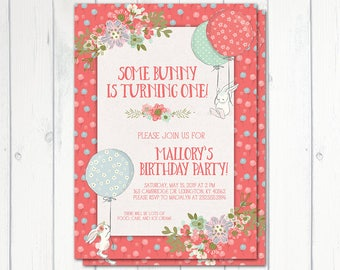 Some Bunny Birthday Invitation, Printable, Girls First Birthday Invitation, Bunny Rabbit Birthday, Party Invite, Easter, Bunny and Balloons