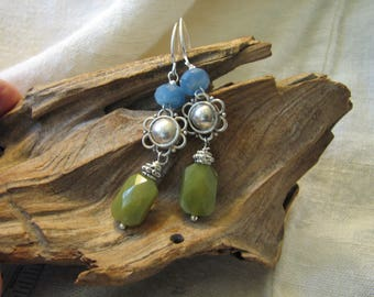 avocado and blue sterling earrings