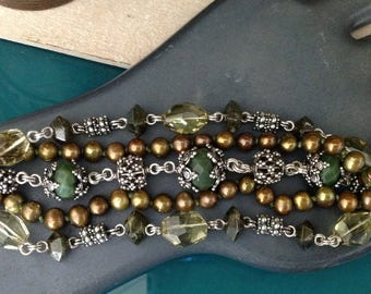 Vintage Stephen Dweck 5-Strand Green Bracelet