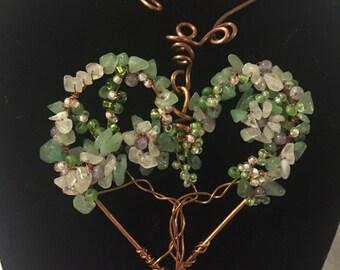 Flowering Heart Tree, Copper Heart Necklace, Wire sculpture Art Ooak jewelry Heart jewelry Love jewelry