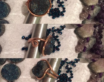 Druzy Ring, Colbolt Blue Druzy and Copper Ring
