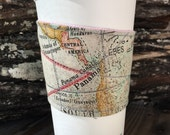 Map Coffee Cozy Panama Reversible  Cup Cozy Smoothie To Go Cup Stocking Stuffer  Gift