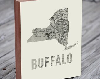 Buffalo ny - Buffalo New York - Buffalo ny print - Buffalo ny art - Wood Block Wall Art Print