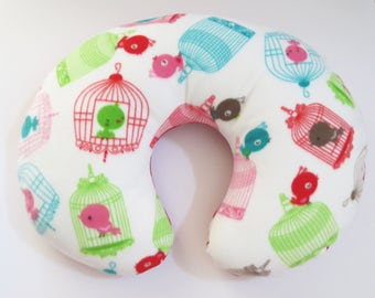Reversible Boppy Nursing Pillow Cover: Birdcages and Red Polka Dots fleece