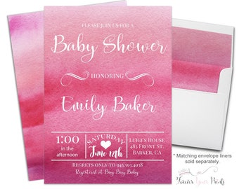 Baby Shower Invitation Girl - Watercolor Baby Shower Invitations - Pink Ombre Baby Shower - Girls Baby Sprinkle - Watercolor Invites