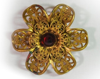1930s Layered Openwork Celluloid Gold Flower Vintage Pin