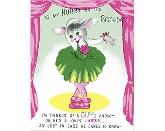Vintage Original unused Greeting card Birthday Husband-My Heart belongs to Daddy