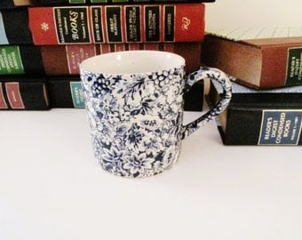 Vintage Chintzware Mug, Blue and White Mug, Cottage Chic,W.H. Grindley Promesse Coffee Cups 1990 England