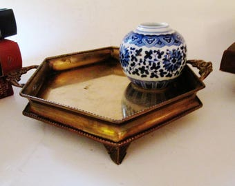 Vintage Brass Gallery Tray, Hollywood Regency, Barware,Footed Petite Brass Catchall