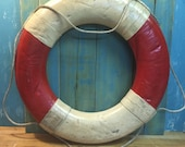 Vintage Life Preserver Ring Float Buoy Red White Canvas House Wall Hanging Nautical Decor at CastawaysHall - Ready to Ship