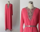 1970s George Allette Chiffon Tunic Dress // 70s Vintage Long Embellished Pink Gown // XL - XXL