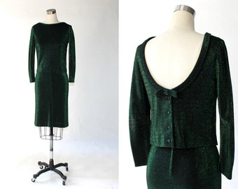1960s Skirt Set in Metallic Green and Black Knit // 60s Vintage Matching Top and Straight Skirt // XS