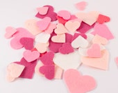 VALENTINE HEARTS - Felt Hearts - pack of 50 mixed die cut hearts - Pink or Red