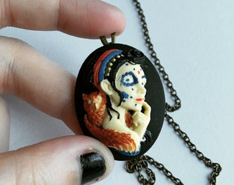 Handpainted Cameo Antique Brass Necklace