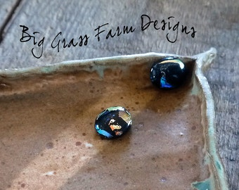 Earring Cabochons, Multi Color Dichroic Glass, Wire Wrapped, Artists Jewelry Making Supplies, Bead Embroidery, Bezel Setting, Bracelet