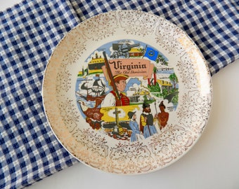 Souvenir Plate. State of Virginia The Old Dominion. Wall Decor. Collectible Americana Memorabilia. Vintage Housewares. Farmhouse Chic.