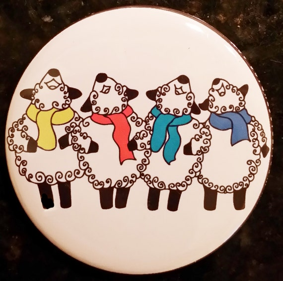 "2.25"" Pin back or magnet- Peaceful Singing Sheep - by Spinderellas Creations"