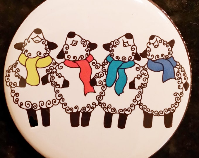 """Featured listing image: 2.25"""" Pin back or magnet- Peaceful Singing Sheep - by Spinderellas Creations"""