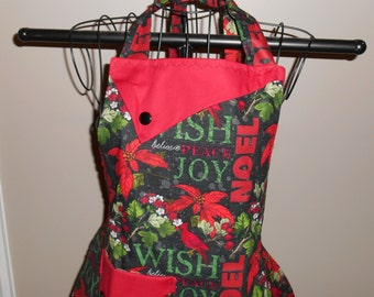 Christmas Cardinals, Poinsettias and  Noel Women's Apron