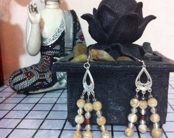 OOAK Cat's Eye Earring/Round Beads 5mm/Dangle Earrings/Cat's Eye Stone Chandelier Earrings/Gypsy Earrings Bohemian Earrings/