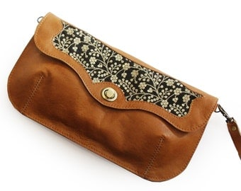 Caramel brown handbag with sparkley embroidery, Leather embroidered purse, Floral evening bag