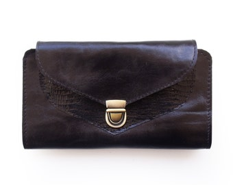 Black women's wallet, unique gift for her, Handmade wallet, black wallet, big wallet, credit card wallet