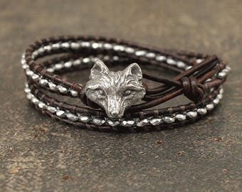 Silver Fox Bracelet Leather and Hematite Fox Jewelry