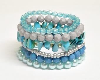 Blue Gray Silver Turquoise bracelet Set of 6 bracelets Unique Stackable beaded bracelet Casual Bridesmaid bracelet Prom Wedding Favor Summer