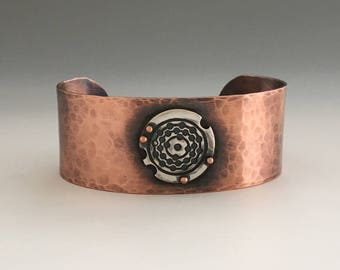 Hammered Cuff Bracelet | Copper Jewelry | Mixed Metal