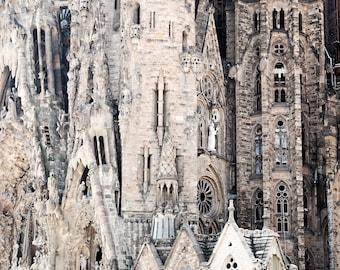 La Sagrada Familia Photograph - Barcelona Photography - Gaudi Architecture Print - Spanish Wall Art - Travel Photo - Neutral - Church Decor