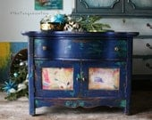 Otomi Print Cobalt Blue and Turquoise Bohemian Mini Cabinet