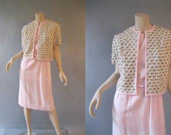 Vintage 60s Day Dress - 1960s Dress and  Knit Jacket - Pink Cotton Summer Dress - Medium Sheath Dress with Belt