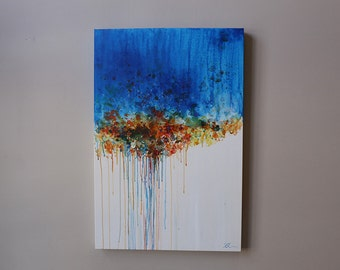 blue abstract,abstract painting,modean ,Acrylic painting,Contemporary  art,orange,brown,blue