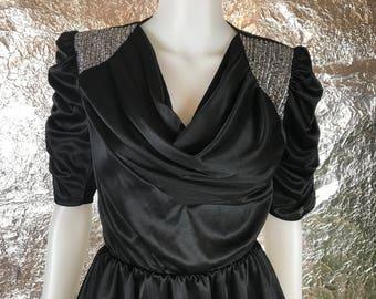 Vintage Black Classy 80's Peplum Dress  M