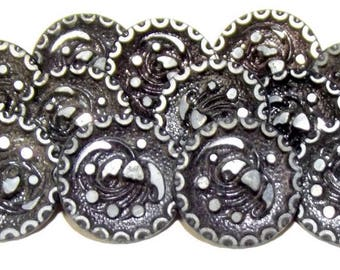 Antique Buttons ~ Button Set of 12 Tinted & Bright Cut Pewter Buttons