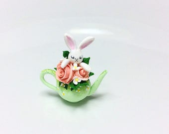 Miniature Easter white rabbit teapot with pink roses handmade from polymer clay