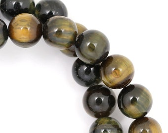 Blue and Golden Tiger Eye Beads - 8mm Round