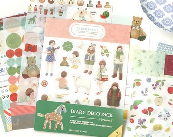 9 Sheets Korea Pretty Sticker Set - Deco Translucent Sticker Set