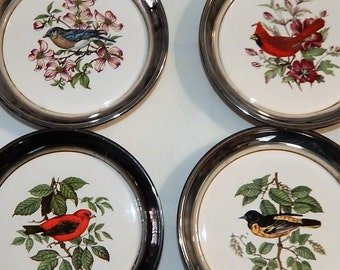 Vintage Bird Coasters - Ceramic set in Chrome -Bird watcher Collector Coaster set of 4