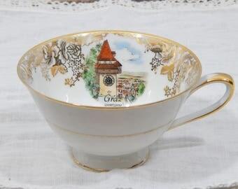 Vintage Austrian Teacup, HB WIEN ,Handarbeit,Germany, Graz Uhrturm,Demitasse Cup, Qualitats, Porzelfan ,Hassenpflug