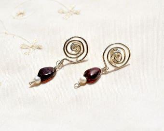Jewelry Silver Post Earrings Spiral Earrings Garnet Pearl Earrings Silver Jewelry Stone Earrings Stud Earrings Made in Israel Free Shipping