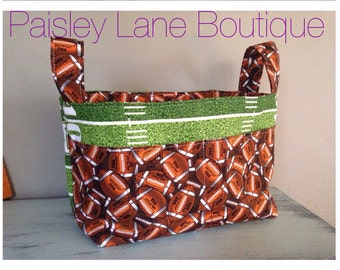 Football Divided Basket, Nursery or Diaper caddy carry all bag, Touchdown Diaper Changing Kit, Tailgating accessory