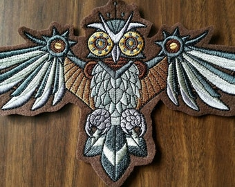 Owl patch,steampunk owl patch
